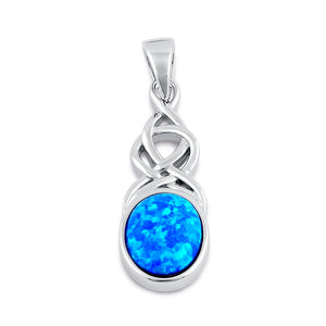 Sterling Silver Blue Lab Opal Celtic Twist and Oval Pendant