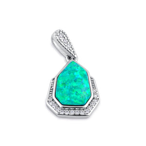 Sterling Silver Elegant Green Lab Opal & Clear CZ Heptagon Pendant