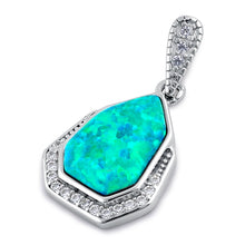 Load image into Gallery viewer, Sterling Silver Elegant Green Lab Opal & Clear CZ Heptagon Pendant