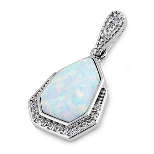 Sterling Silver Elegant White Lab Opal & Clear CZ Heptagon Pendant