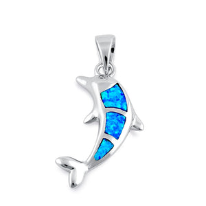 Sterling Silver Blue Lab Opal Bottlenose Dolphin Pendant
