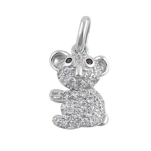 Sterling Silver Dainty Koala Bear Round Cut Clear and Brown CZ Pendant