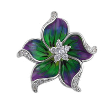Load image into Gallery viewer, Sterling Silver Hand-Painted Hawaian Flower Purple Green with Clear CZ Pendant