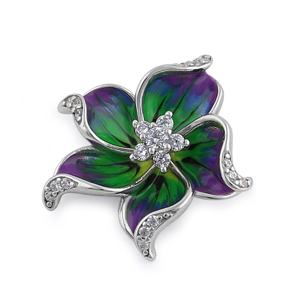 Sterling Silver Hand-Painted Hawaian Flower Purple Green with Clear CZ Pendant