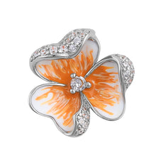 Load image into Gallery viewer, Sterling Silver Hand-Painted Hawaiian Peach  Flower with Clear CZ Pendant