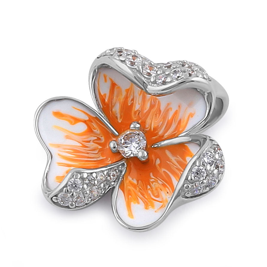 Sterling Silver Hand-Painted Hawaiian Peach  Flower with Clear CZ Pendant