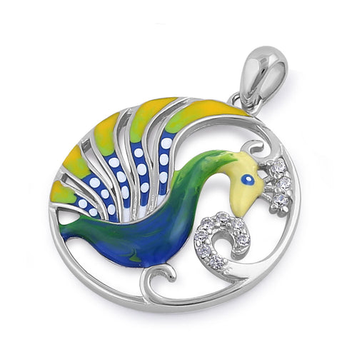 Sterling Silver Hand-Painted Exotic Peacock Multi-Colored with Clear CZ Pendant