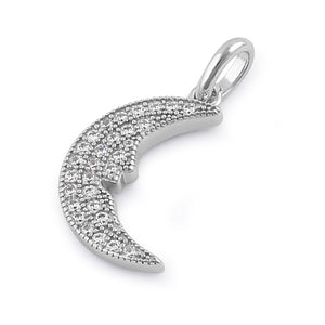 Sterling Silver Elegant Crescent Moon Face Round Cut Clear CZ Pendant