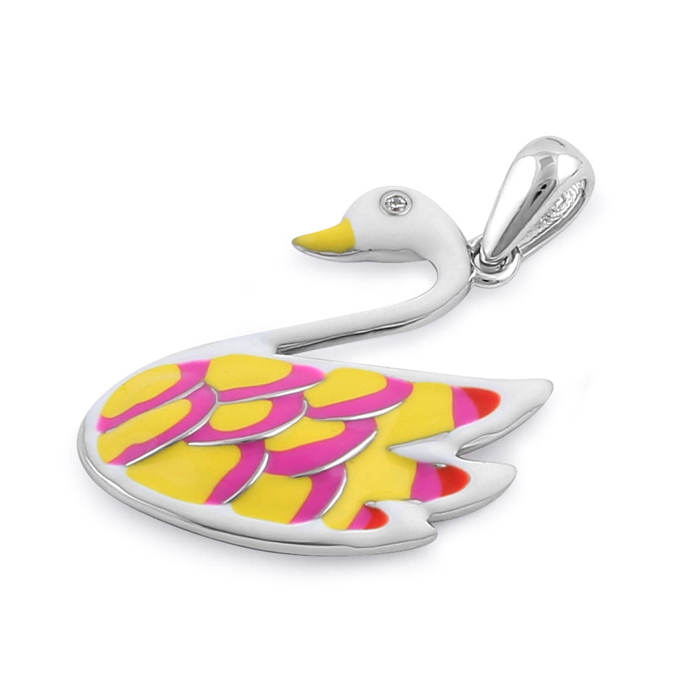 Sterling Silver Hand-Painted Funky Swan with  Clear CZ Pendant