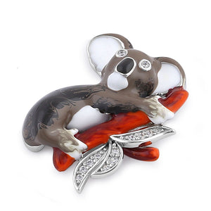 Sterling Silver Hand-Painted Realisic Koala with Clear CZ Pendant
