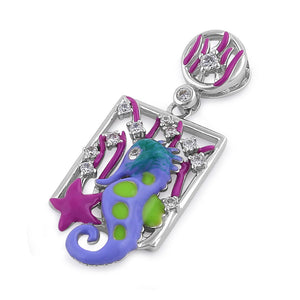Sterling Silver Hand-Painted Under the Sea Seahorse with Clear CZ Pendant