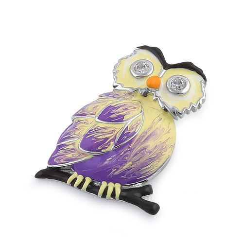Sterling Silver Hand-Painted Modish Owl with Clear CZ Pendant