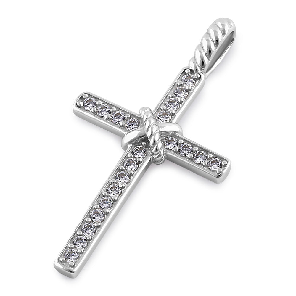 Sterling Silver Roped Cross Round Cut Clear CZ Pendant