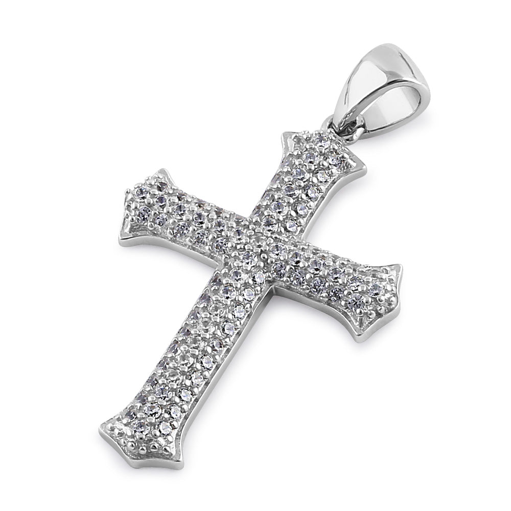 Sterling Silver Medieval Cross Round Cut Clear CZ Pendant