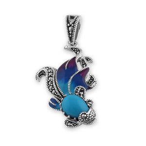Sterling Silver Simulated Turquoise Fish Ghost Marcasite Pendant