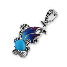 Load image into Gallery viewer, Sterling Silver Simulated Turquoise Fish Ghost Marcasite Pendant