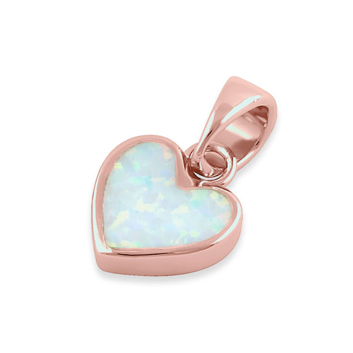 Sterling Silver Rose Gold Plated White Lab Opal Small Heart Pendant