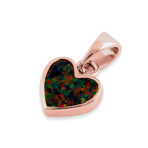 Sterling Silver Rose Gold Plated Black Lab Opal Small Heart Pendant
