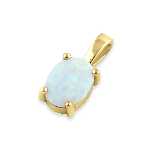 Sterling Silver Gold Plated White Lab Opal Oval Pendant