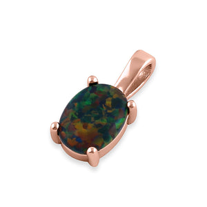 Sterling Silver Rose Gold Plated Black Lab Opal Oval Pendant