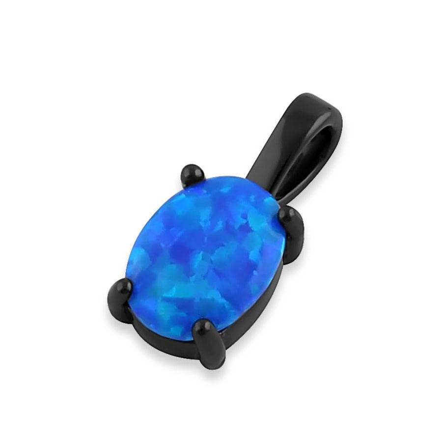 Sterling Silver Black Rhodium Plated Blue Lab Opal Oval Pendant