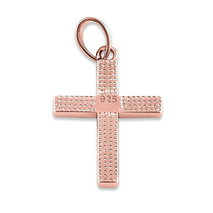Sterling Silver Rose Gold Plated White Lab Opal Cross Pendant
