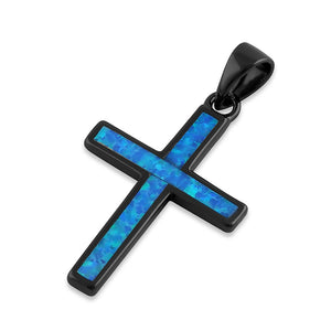 Sterling Silver Black Rhodium Plated Blue Lab Opal Cross Pendant