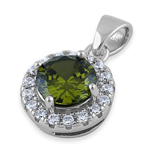Load image into Gallery viewer, Sterling Silver Round Peridot CZ Halo Pendant
