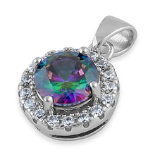 Load image into Gallery viewer, Sterling Silver Round Rainbow CZ Halo Pendant