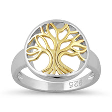 Load image into Gallery viewer, Sterling Silver Yellow Gold Plated Tree of Life Ring