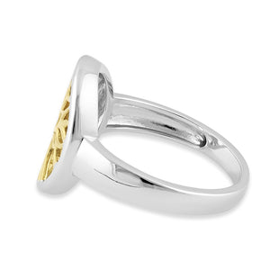 Sterling Silver Yellow Gold Plated Tree of Life Ring