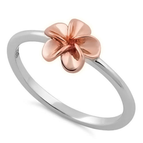 Sterling Silver Rose Gold Plumeria Ring