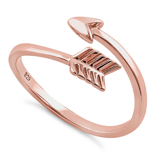 Sterling Silver Rose Gold Plated Arrow Ring