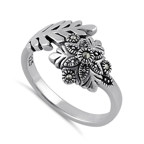 Sterling Silver Snow Flake Flower Marcasite Ring