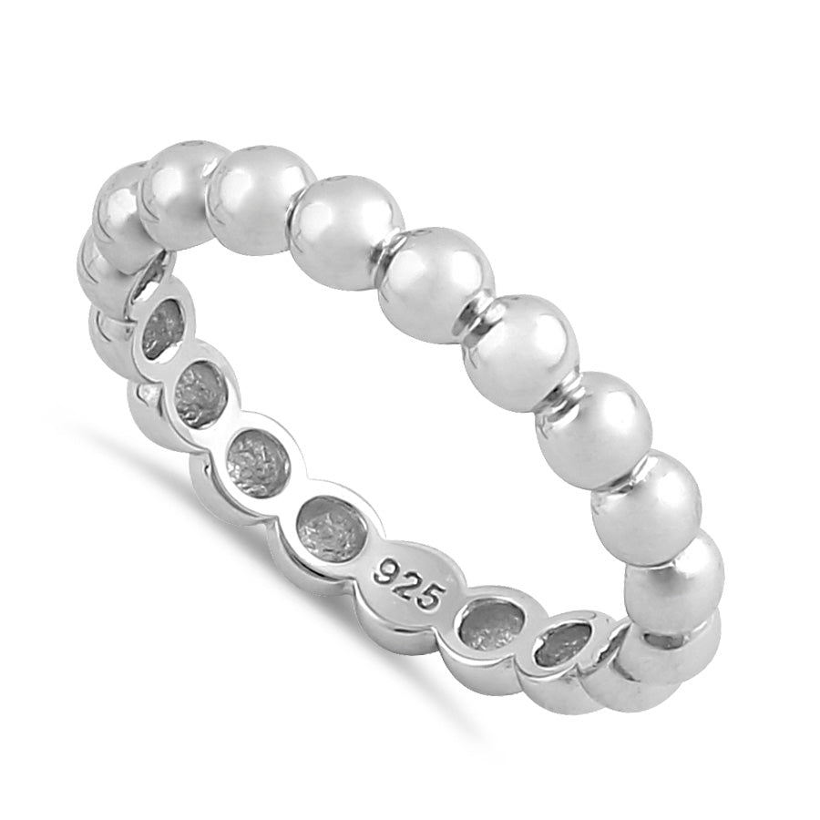 Sterling Silver Thick Stackable Bead Ring