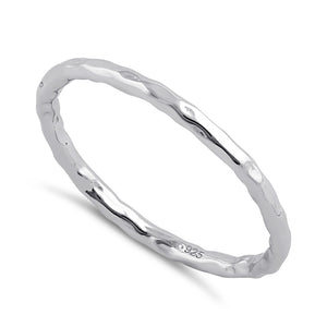 Sterling Silver Thin Hammered Band Ring