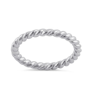 Sterling Silver Stackable Rope Ring