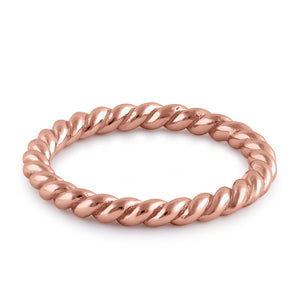 Sterling Silver Rose Gold Plated Stackable Rope Ring