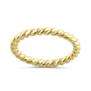 Sterling Silver Yellow Gold Plated Stackable Rope Ring