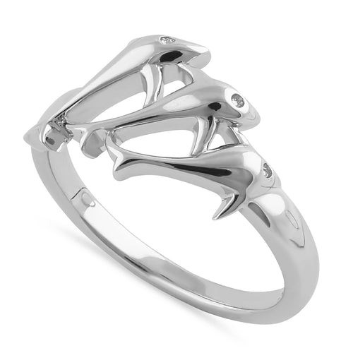 Sterling Silver Jumping Dolphins Ring