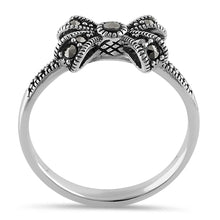 Load image into Gallery viewer, Sterling Silver Dainty Bow Marcasite Ring