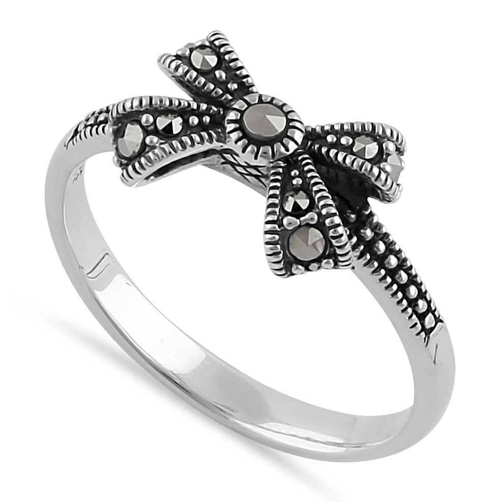 Sterling Silver Dainty Bow Marcasite Ring
