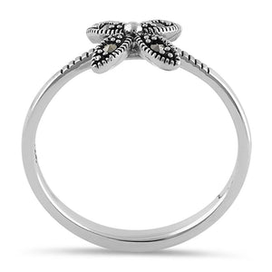 Sterling Silver Dainty Flower Marcasite Ring