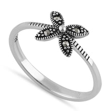 Load image into Gallery viewer, Sterling Silver Dainty Flower Marcasite Ring
