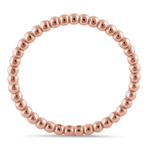 Sterling Silver Rose Gold Plated 1.5mm Stackable Bead Ring