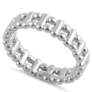 Sterling Silver High Polish Bead & Bar Stackable Ring