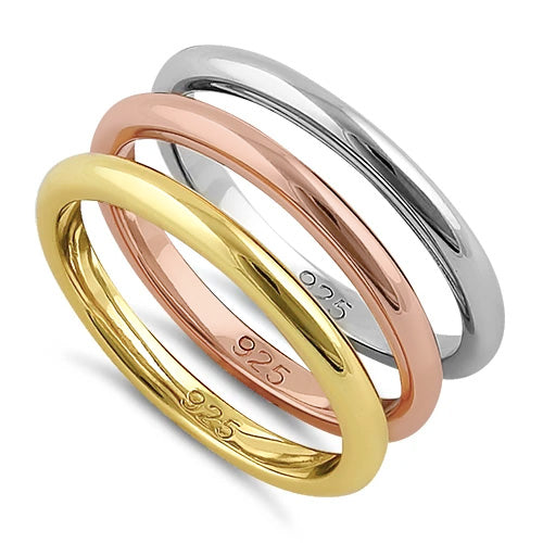 Sterling Silver Three Tone Stackable Rings  - (Set of 3 rings)