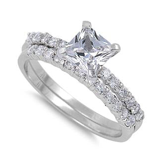 Sterling Silver Princess Cut Clear CZ Engagement Double Band Ring