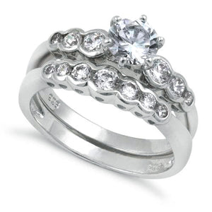 Sterling Silver Round Cut Clear CZ Ring
