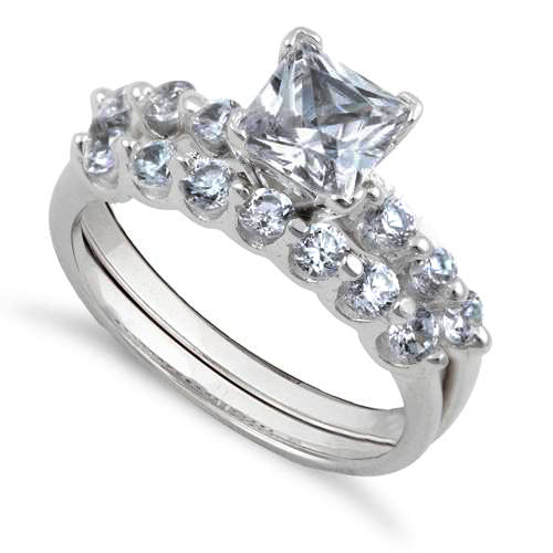 Sterling Silver Clear Square Princess Cut Engagement Set CZ Ring